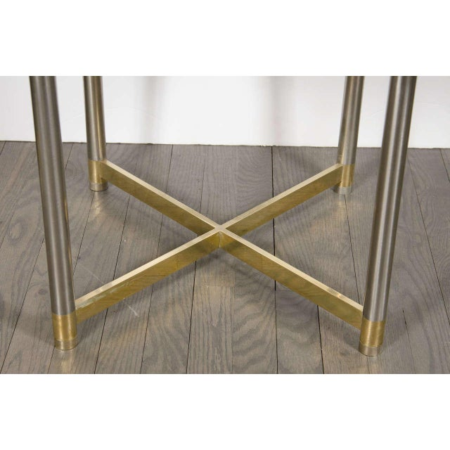 Mid-Century Modern Mid-Century Modernist X-Form Stool in the Manner of Karl Springer For Sale - Image 3 of 7