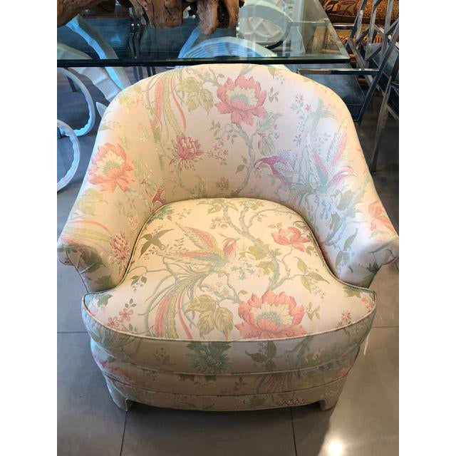 1980s Vintage Pastel Tropical Birds Club Lounge Chairs - a Pair For Sale - Image 5 of 11
