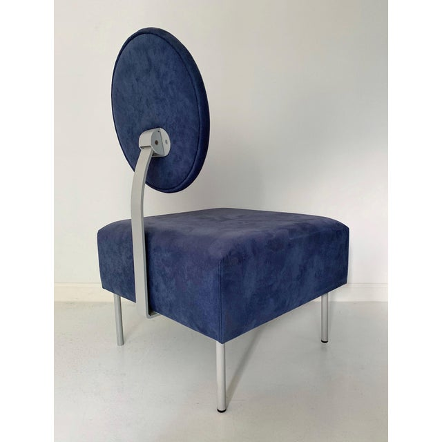 1980's Vintage Andreu World Contemporary Blue Square Lounge Chair For Sale - Image 4 of 7