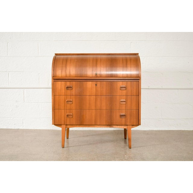 Iconic Mid Century Modern Egon Ostergaard Teak Cylinder Rolltop Secretary Desk Cabinet Made