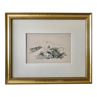 Antique European School Drawing of a Traveler and a Bridge Artist Signed Dated 1881 For Sale