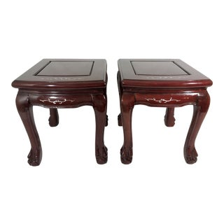 Vintage Inlaid Asian Mother of Pearl & Red Rosewood Side Tables or Pedestals - a Pair For Sale