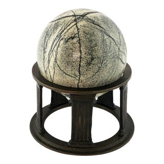 Late 19th Century Grand Tour Solid Green Marble Sphere on Bronze Column Base For Sale