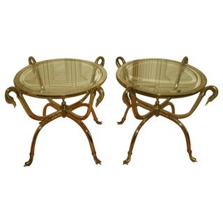 Neoclassical Brass & Chrome Duck Tables - A Pair