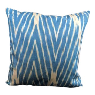 Contemporary Blue Ikat Decorative Pillow Cover For Sale