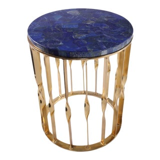 Lapis Lazuli Brass Accent Table For Sale
