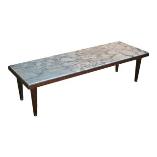 Mid Century Modern Marble Top Narrow Cocktail Table For Sale