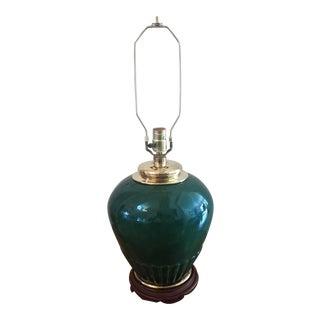 Vintage Hunter Green Ceramic Ginger Jar Lamp For Sale