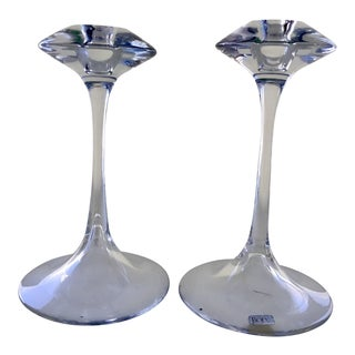 Vintage Kosta Boda Fanfare Hand Blown Glass Candle Holders - a Pair For Sale