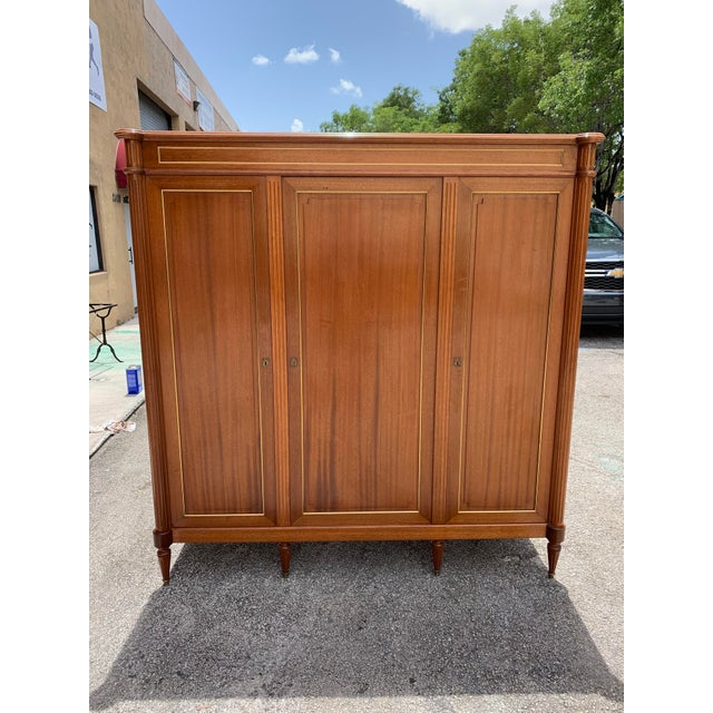 French 1910s French Louis XVI Antique Mahogany Armoire For Sale - Image 3 of 13