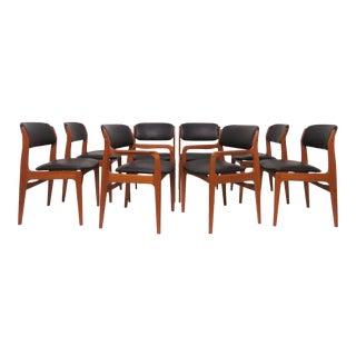C. 1970s Erik Buch Style Danish Modern Teak Dining Chairs - Set of 8 For Sale