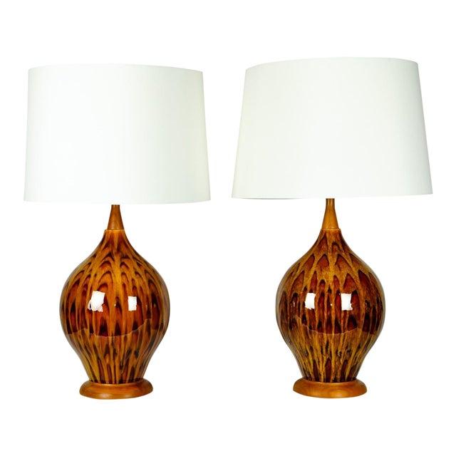 Mid Century Italian Glazed Porcelain Table Lamps - a Pair For Sale