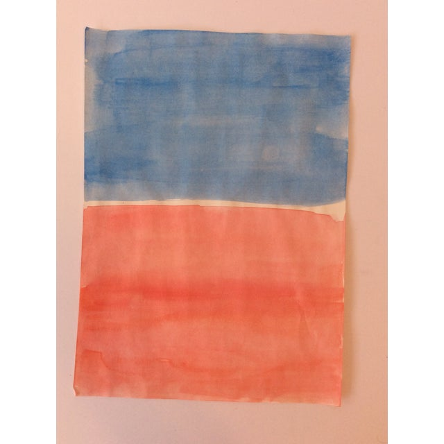 Abstract Mark Rothko-Style Watercolor 1990s For Sale - Image 3 of 3