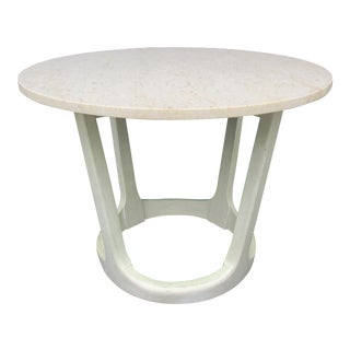 Adrian Pearsall Style White Marble Top Side Table For Sale