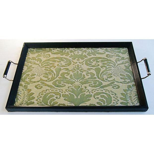 1930s Serving Tray W/ Italian Fortuny Fabric - Image 2 of 8