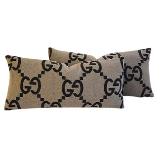 """Custom Tailored Gucci Cashmere & Velvet Feather/Down Pillows 24"""" X 12"""" - Pair For Sale"""