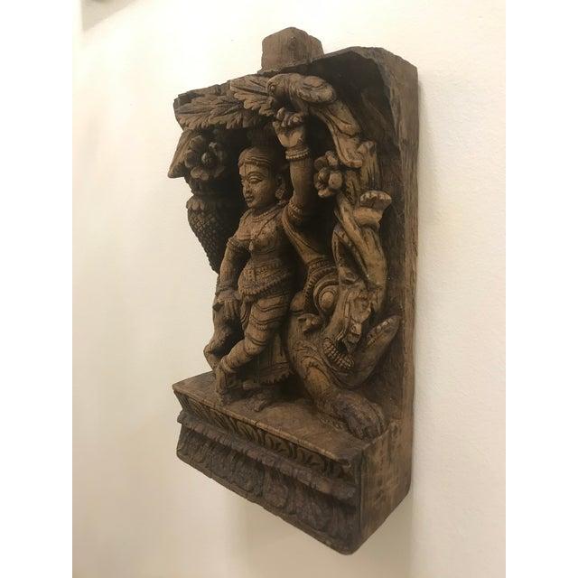 Wood Carved Wooden Icon of Vishnu Goddess For Sale - Image 7 of 12