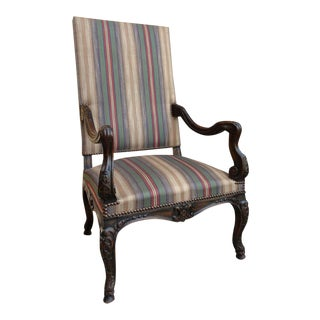 Antique French Carved Walnut Fireside Library Reading / Dining Throne Chair For Sale