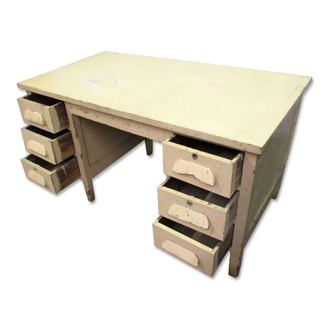This is a vintage wood desk with six large side drawers. Two drawers have recessed locks (no keys). The dresser is painted...