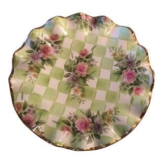 Vintage MacKenzie Childs Honeymoon Ruffled Pedestal Cake Plate in Sweet Pea Green For Sale