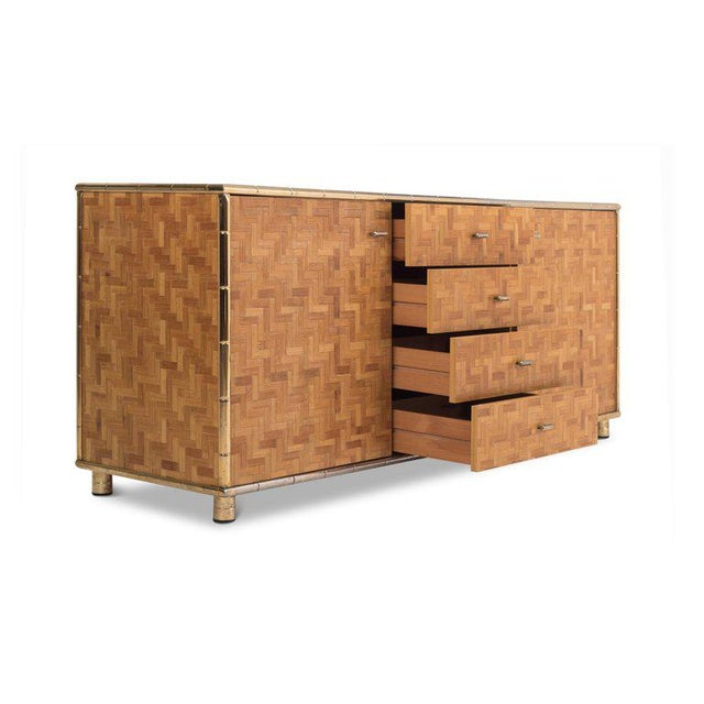 1970s Hollywood Regency Sideboard in Rattan and Bamboo, 1970s For Sale - Image 5 of 9