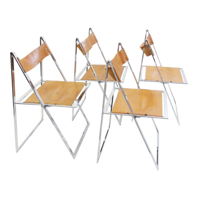 Set of 4 Folding Chairs 'Elios' by Fontoni & Geraci - 1960s For Sale