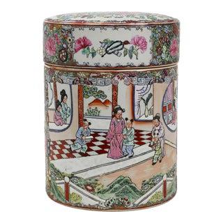 Vintage Cylindrical Famille Rose Porcelain Lidded Jar For Sale