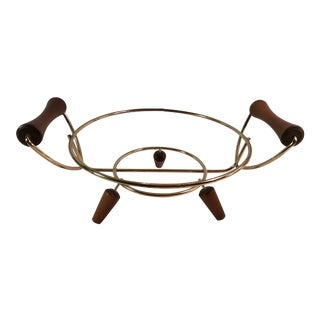Mid-Century Modern Brass & Wood Casserole Stand For Sale