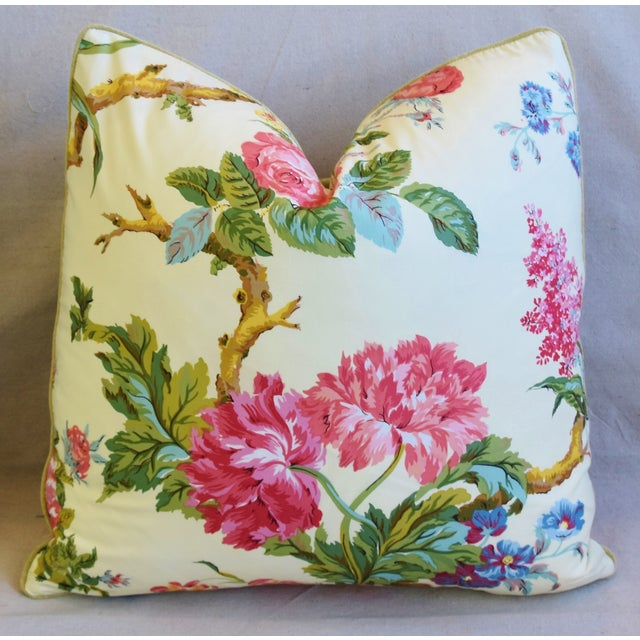 """Early 21st Century French Brunschwig & Fils Floral Feather/Down Pillows 21"""" Square - Pair For Sale - Image 5 of 13"""