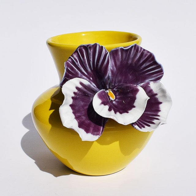 Ceramic Yellow and Purple Abstract Ceramic Vase with Affixed Floral Orchid For Sale - Image 7 of 7
