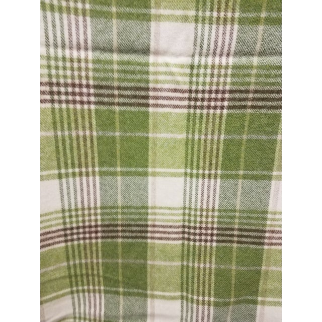 Merino Wool Throw Greens Brown and White Plaid - Made in England For Sale In Dallas - Image 6 of 11