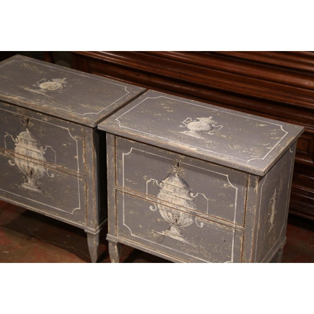 Early 20th Century French Painted Nightstands or Commodes - a Pair For Sale - Image 4 of 11