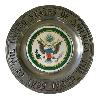 Vintage Seal of the United States of America Pewter Plate For Sale