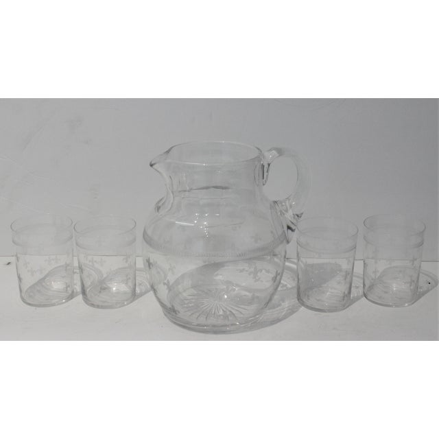 "Vintage Glass Fleur De Lis Pitcher and 4 Tumblers Iced Tea Lemonade - a Set The tumblers measure 2 3/4"" diameter and 3..."