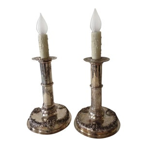 Silver-plate Candlestick Lamps For Sale