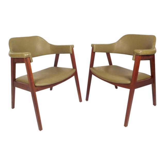 Mid-Century Modern Vinyl Barrel Back Chairs For Sale