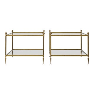 Pair of 1930's French Neoclassical Brass & Glass Nesting Tables For Sale