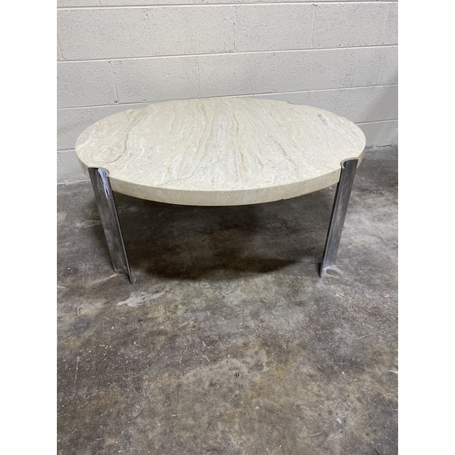 Mid Century Chrome & Floating Marble Coffee Table For Sale - Image 12 of 12