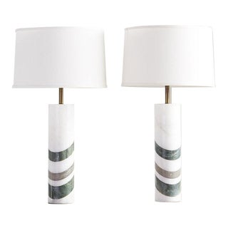Pair of Striped Italian Alabaster + Marble Lamps For Sale