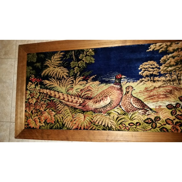 Hollywood Regency Vintage Pheasant Framed Rug Wall Art For Sale - Image 3 of 7