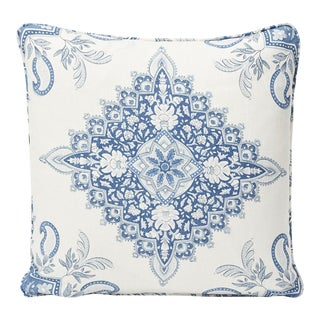 Schumacher Double-Sided Pillow in Montecito Medallion Linen Print For Sale
