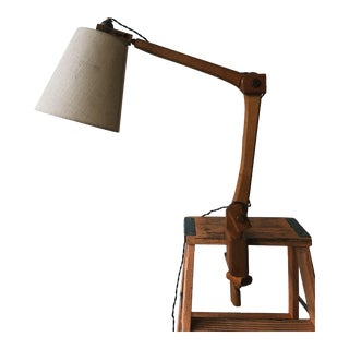 Vintage Wooden Desk Lamp For Sale