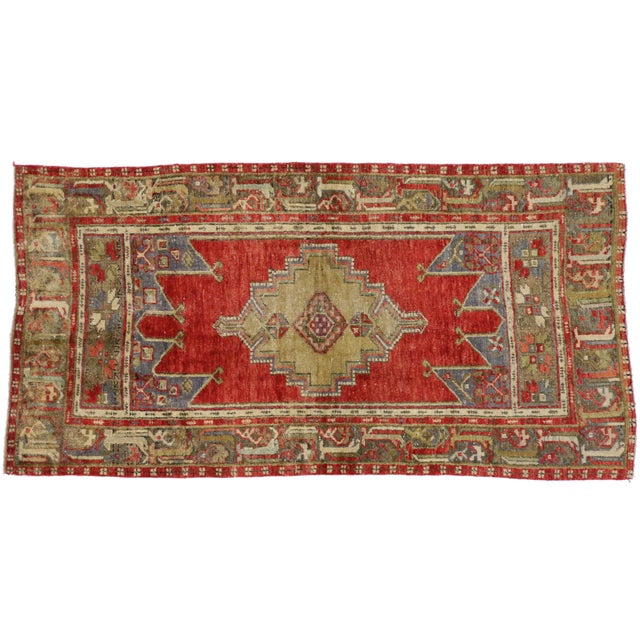 Vintage Turkish Oushak Rug With Traditional Modern Style - 3′11″ × 7′7″ For Sale
