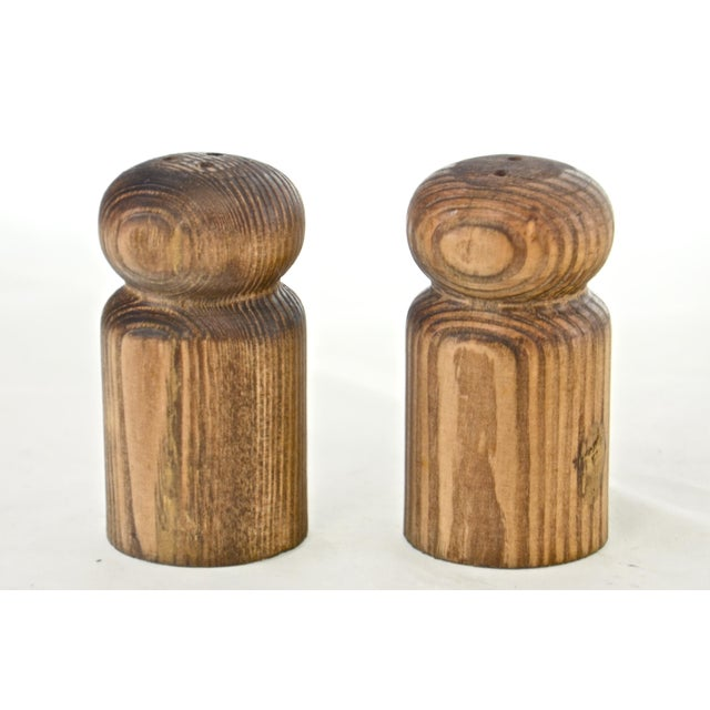 Vintage rustic hand turned wood salt and pepper shakers with plastic gaskets. Great picnic, cabin or cottage set. No...