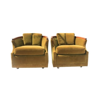 Vintage Mid Century Green Velvet Barrel Back Club Chairs- A Pair For Sale