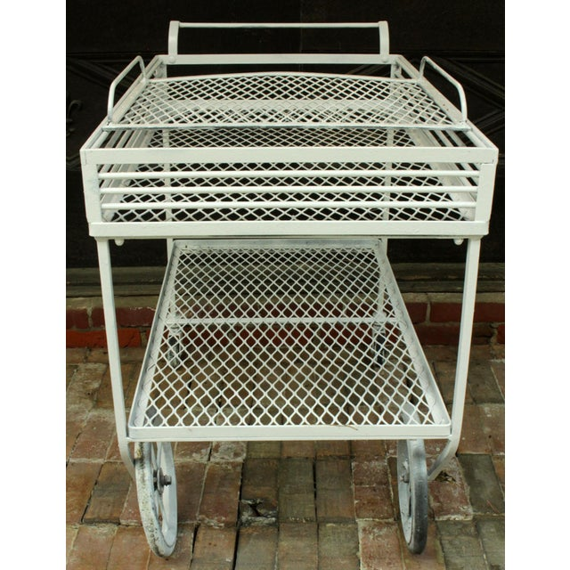 Modern 1940s Vintage Wrought Iron Patio Bar Cart For Sale - Image 3 of 10