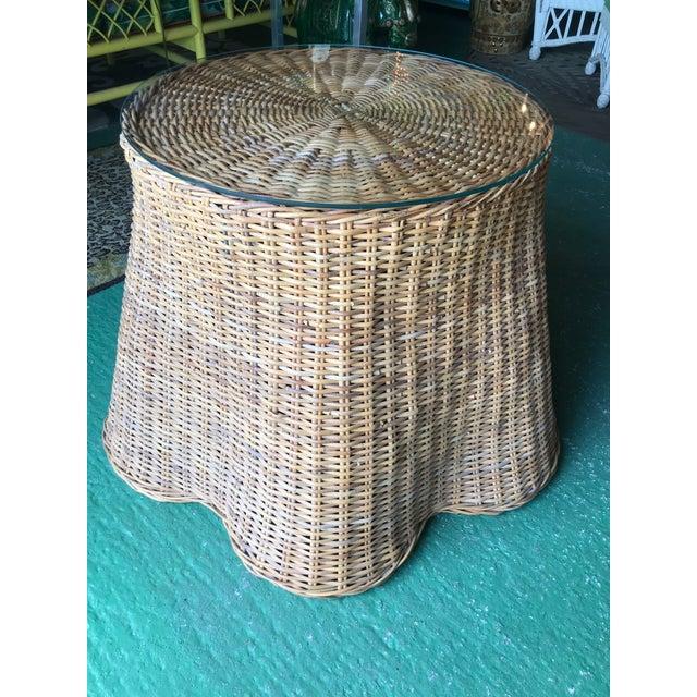 Boho Chic Trompe L'Oeil Rattan Wicker Draped Table Pedestal For Sale - Image 3 of 10