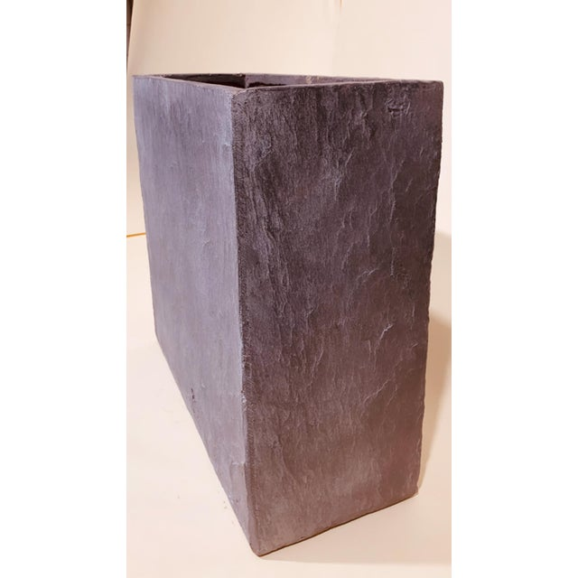 Modern Grey Rectangle Planter With Natural Texture For Sale - Image 3 of 5