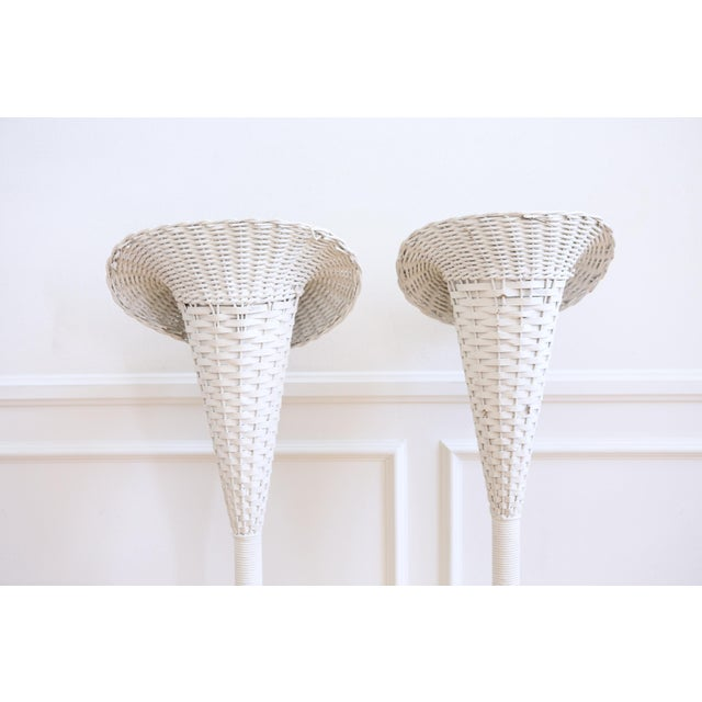 Vintage White Wicker Basket Planter Stands - A Pair For Sale In Los Angeles - Image 6 of 8