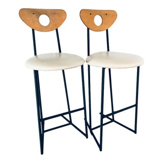 1960s Mid Century Modern Cal-Style Counter Top Bar Stools- A Pair For Sale